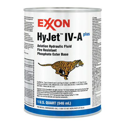 Exxon HyJet IV-A+ Aviation Hydraulic Fluid 1USQ Can *BMS3-11 Type IV Class 1A