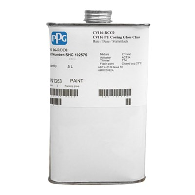 PPG CV116 PU Gloss Coating Clear 500ml Tin *ABP 9-4325 Issue 4 *AIMS 04-04-009 *ABP 4-2128 Issue 10