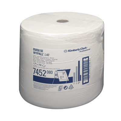 Kimberly Clark 7452 Wypall L40 Wipers White 34cm x 32cm 750 Sheet Roll