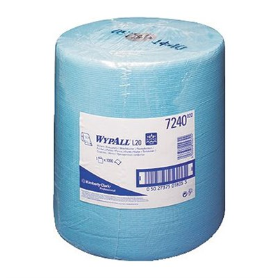 Kimberly Clark 7240 Wypall L20 Wipers Blue 33cm x 38cm 1000 Sheet Roll