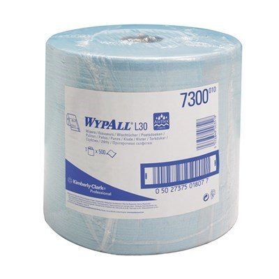 Kimberly Clark 7300 Wypall L20 Extra+  Wipers Blue 23cm x 38cm 500 Sheet Roll