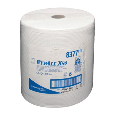 WypAll® 8377 X80 Cloth White 34cm x 31.5cm 475 Sheet Roll