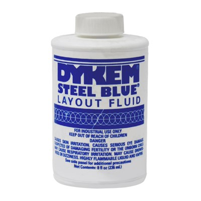 Dykem Steel Blue Layout Fluid Brush Can in various sizes