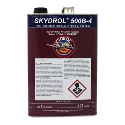 Skydrol 500B-4 Fire Resistant Aviation Hydraulic Fluid available in various sizes