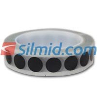 H143B Silicone Adhesive Black Polyimide Spots 16mm 1000 Per Roll