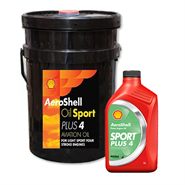AeroShell Oil Sport Plus 4 in various sizes