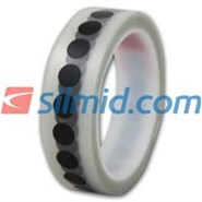 H143B Silicone Adhesive Black Polyimide Spots 12mm 1000 per Roll